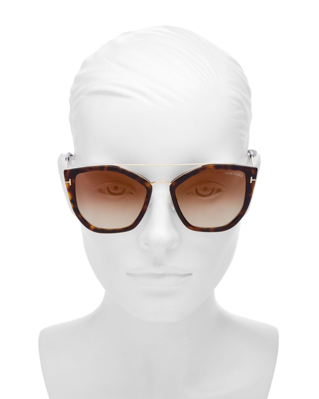 487ecfa4824 Lyst - Tom Ford Women s Cat Eye Mirrored Sunglasses 55mm in Brown