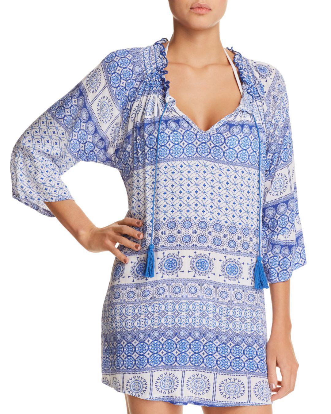1032e77eb6 Lyst - J Valdi Tassel Tunic Dress Swim Cover-up in Blue