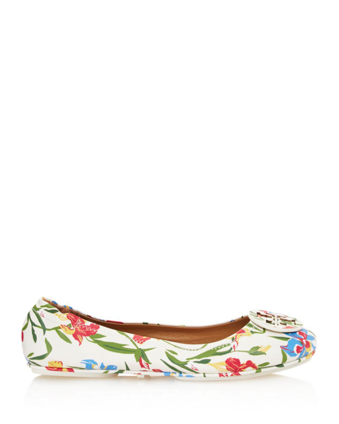 231c074a6d8 Lyst - Tory Burch Women s Minnie Floral Print Leather Travel Ballet ...