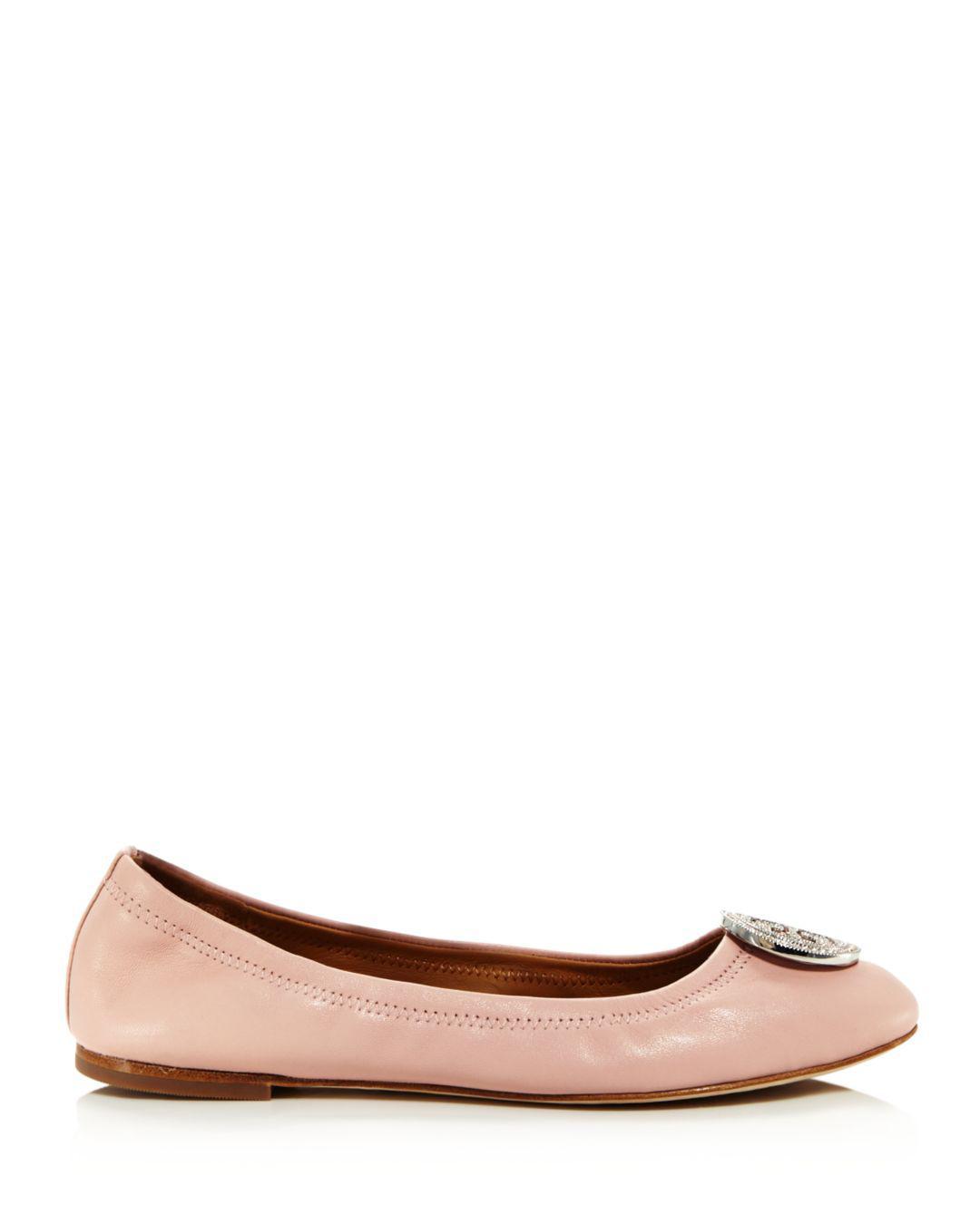9402fae876f6 Lyst - Tory Burch Women s Liana Round Toe Rhinestone Logo Leather Ballet  Flats