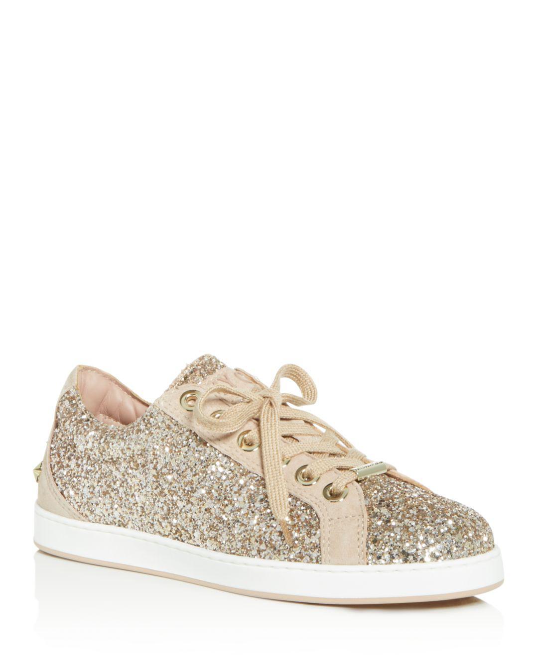 f793e673eb54 Lyst - Jimmy Choo Women s Cash Glitter Lace Up Sneakers in Pink