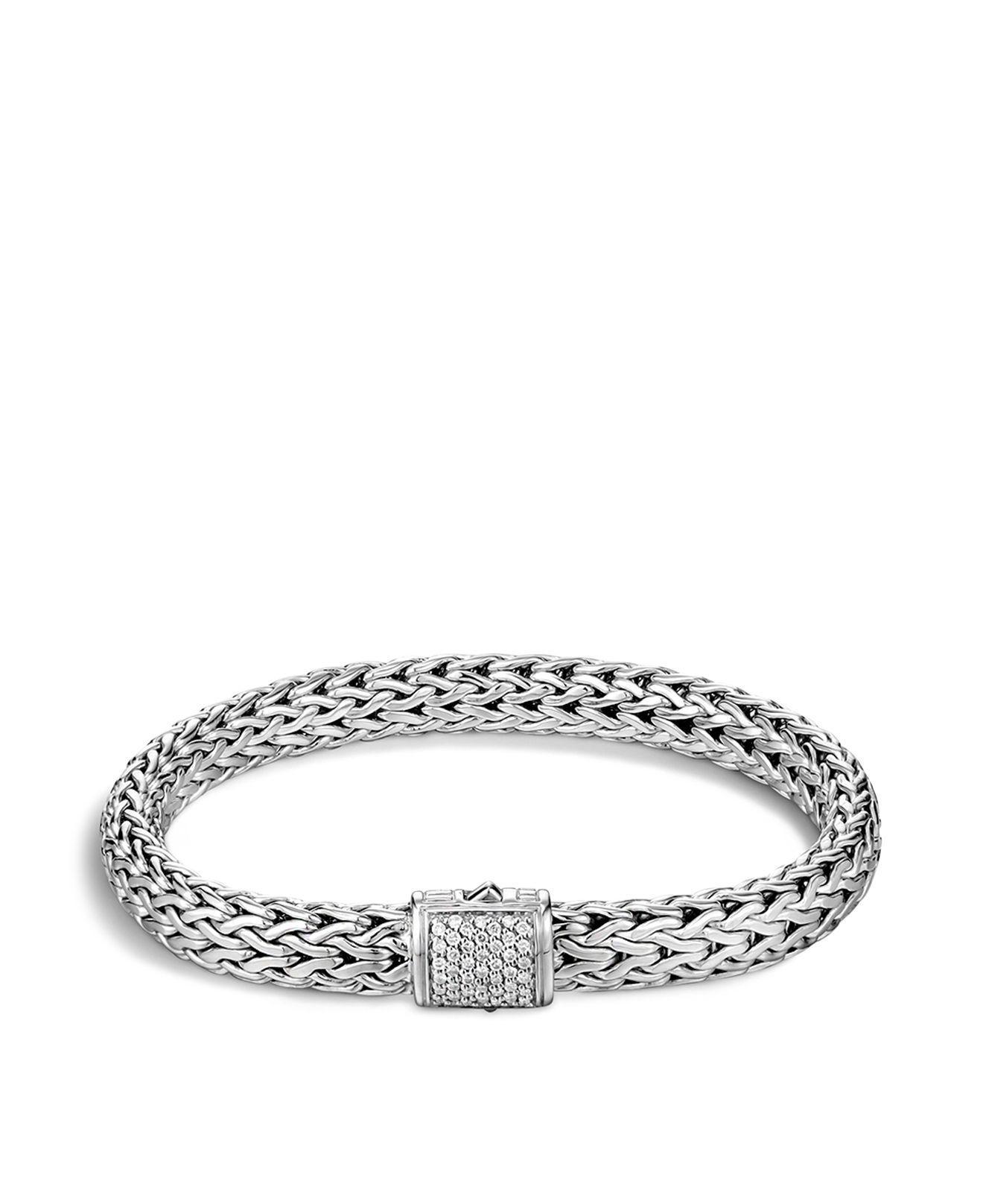 John Hardy Classic Chain Hammered Diamond Tip Cuff Bracelet Lb9AsR