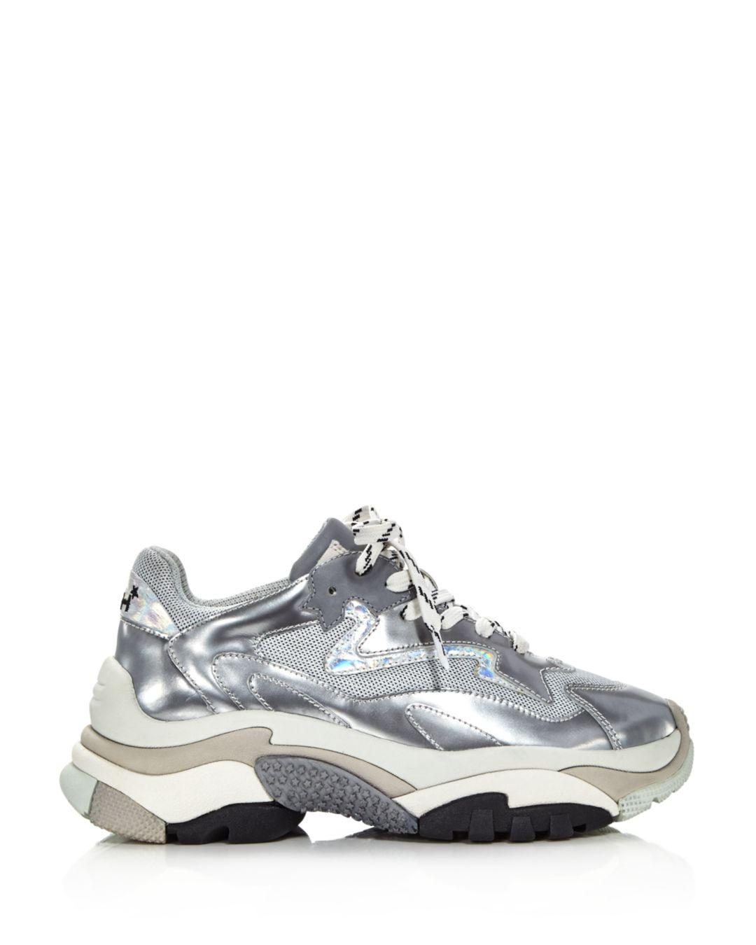 3f4bad6187ed Lyst - Ash Women s Addict Leather Lace Up Sneakers in Metallic