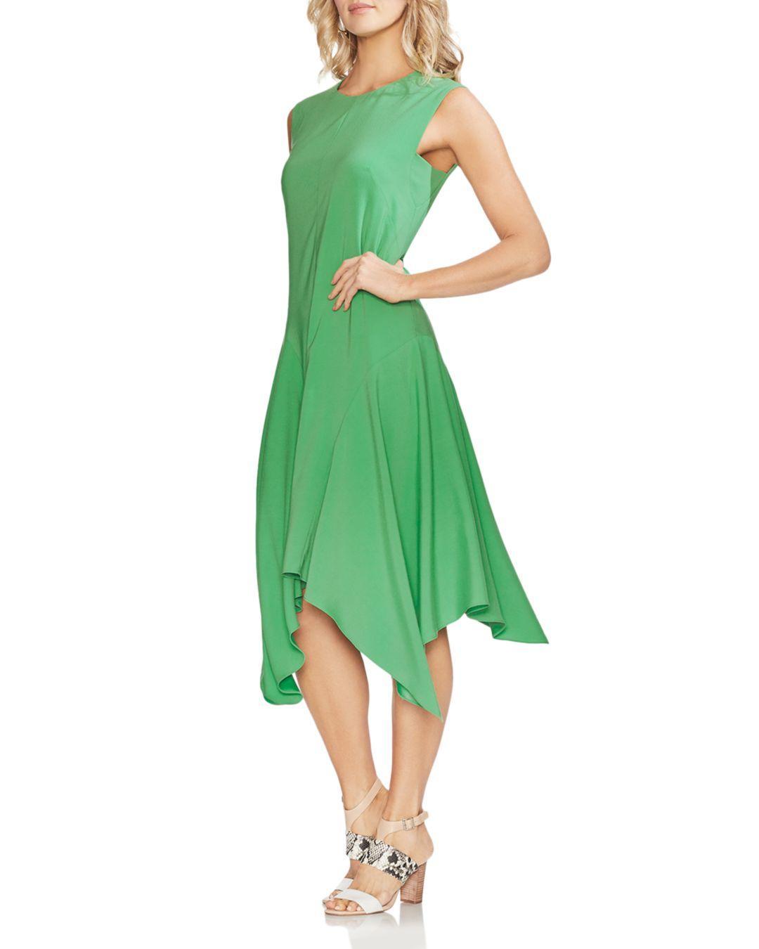 Vince Camuto Satin Handkerchief Midi Dress In Green Lyst