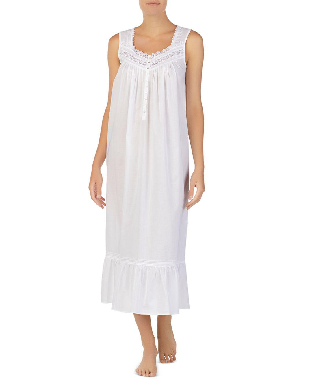 12d3575d13 Lyst - Eileen West Sleeveless Long Cotton Ballet Nightgown in White