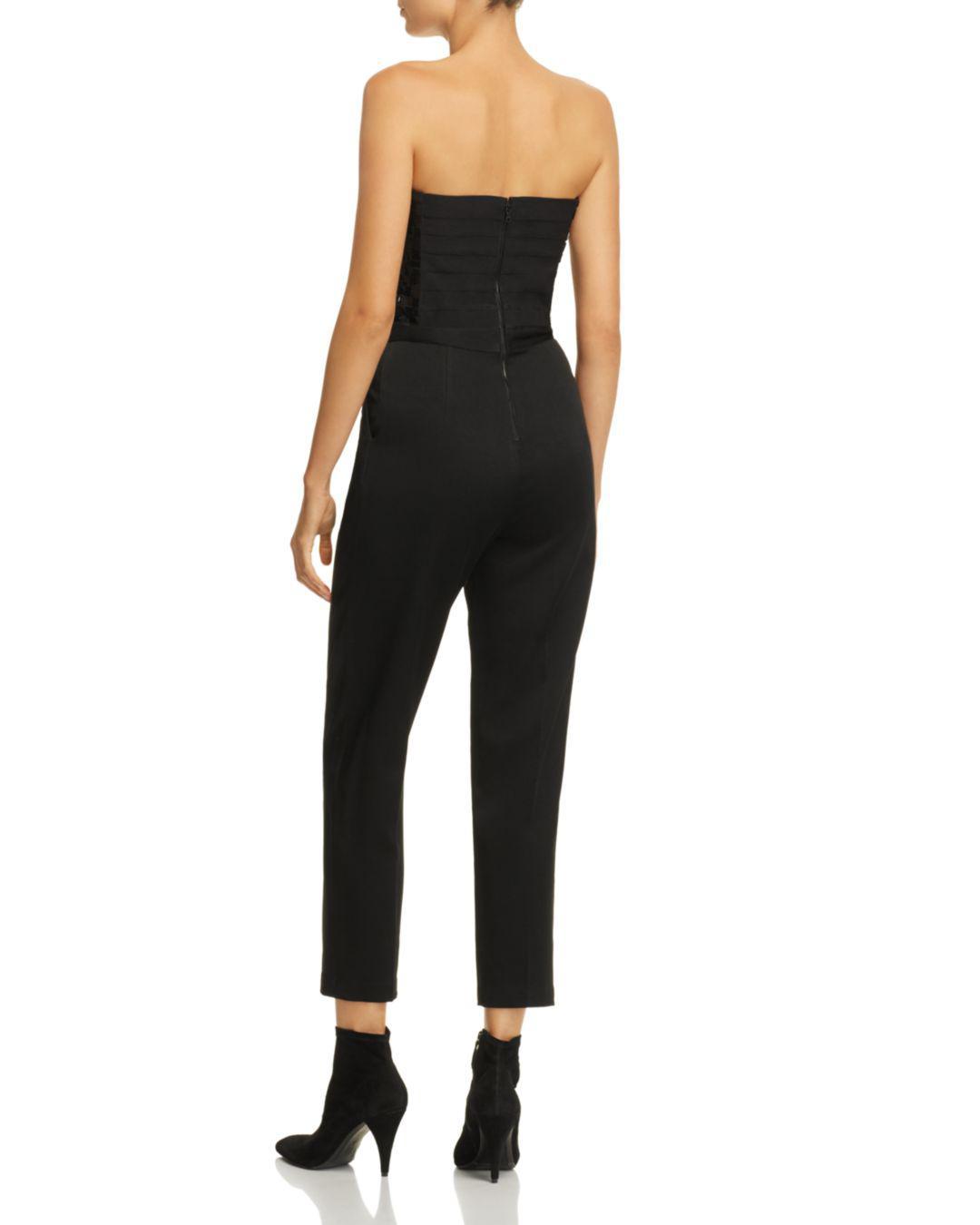 96ba1566df52 Alice + Olivia Alice + Olivia Jeri Embellished Strapless Jumpsuit in Black  - Lyst