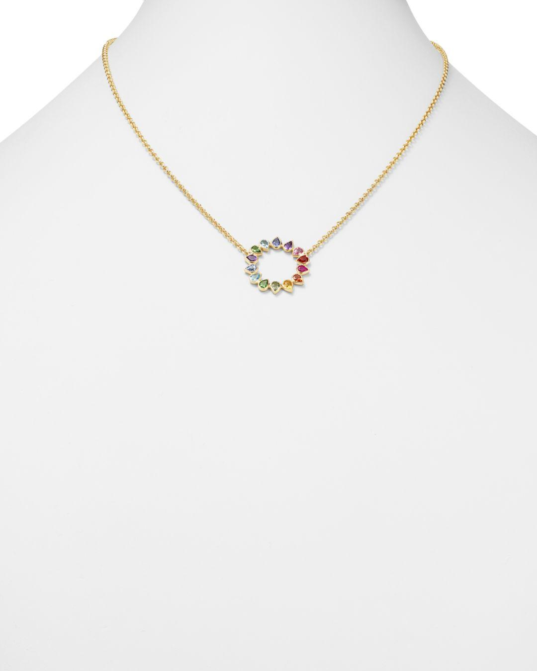 She Bee 14k Yellow Gold Multicolor Sapphire & Mixed Gemstone Circle Pendant Necklace in Metallic