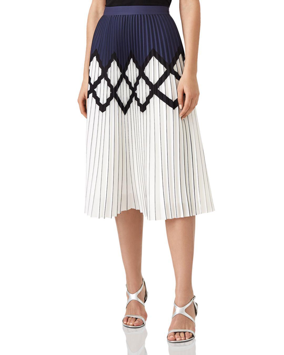 259a79e85 Lyst - Reiss Elsa Pleated Midi Skirt in White