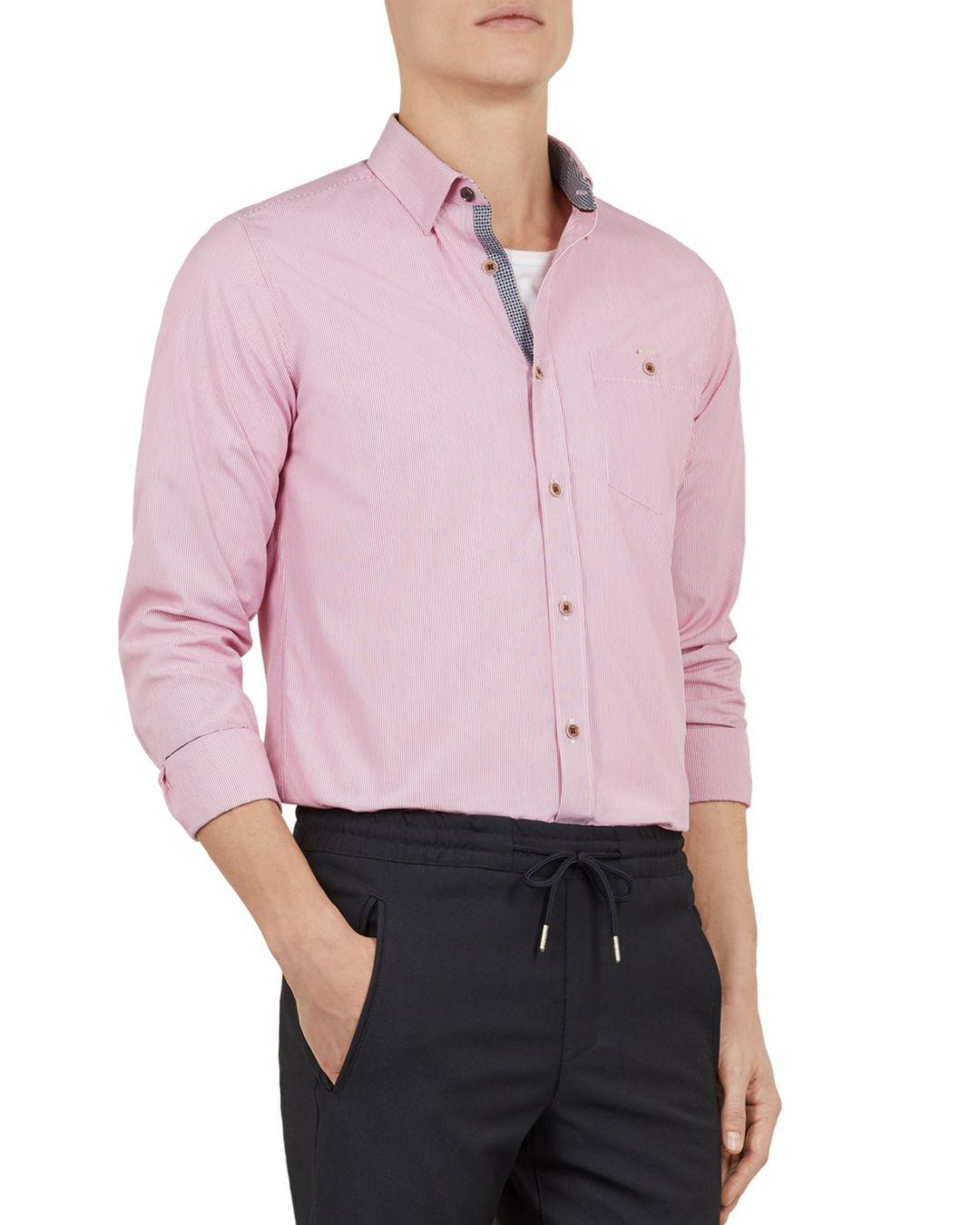 e0a846101f31 Lyst - Ted Baker Yerman Striped Slim-fit Shirt in Pink for Men