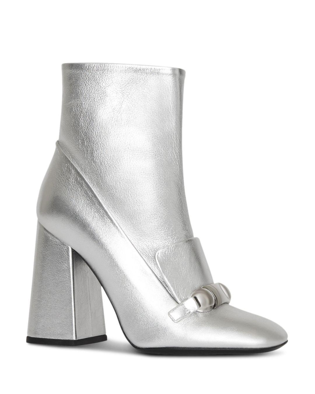 407f0c204ee Lyst - Burberry Brabant Metallic Leather Block Heel Booties in ...