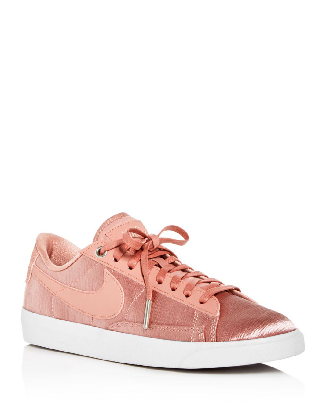 hot sale online b1954 e2252 Lyst - Nike Women s Blazer Embossed Satin   Leather Lace Up Sneakers ...