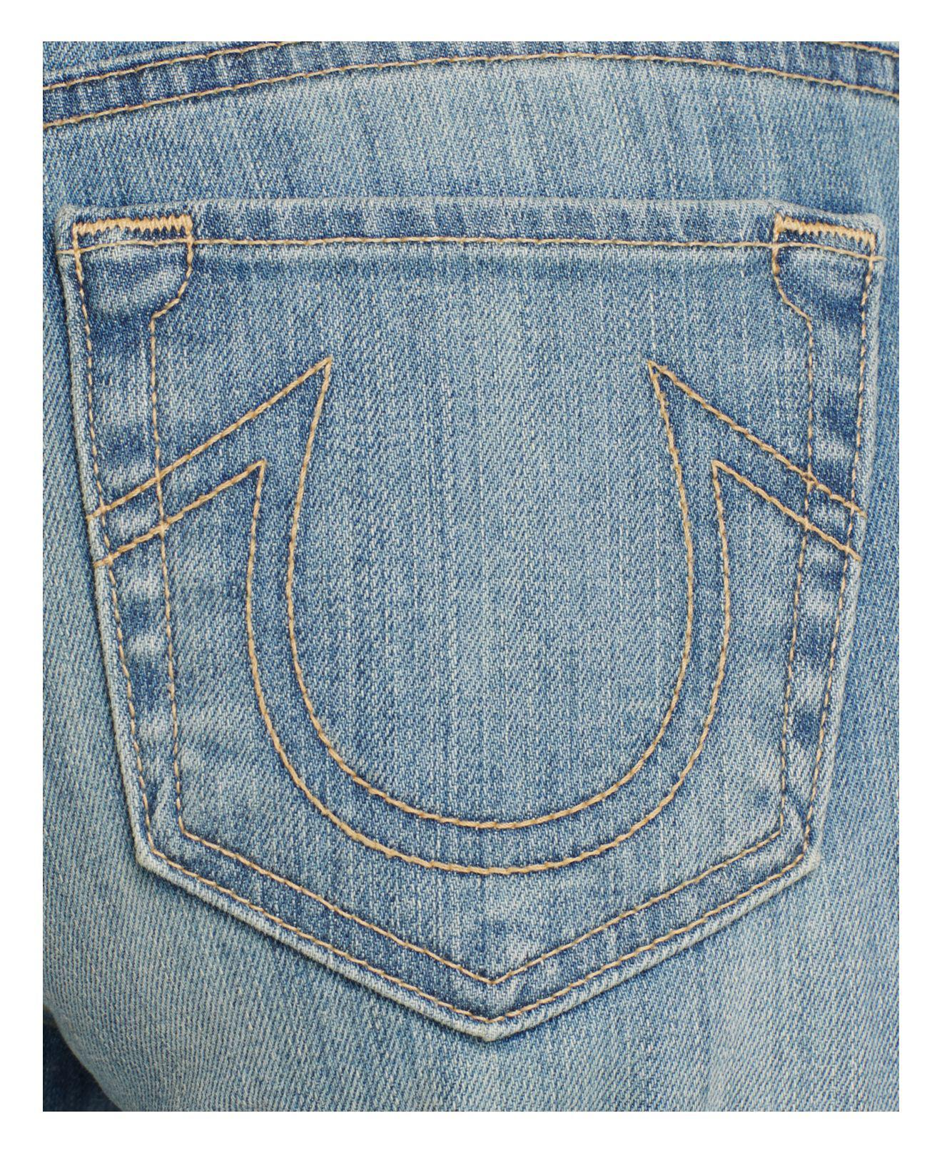 True Religion Denim Relaxed Straight Jeans In Moondance in Blue