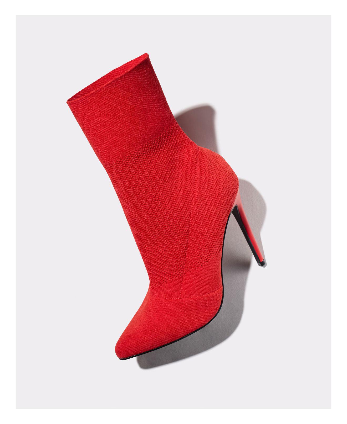 Aqua Women S Cento Stretch High Heel Sock Booties In Red
