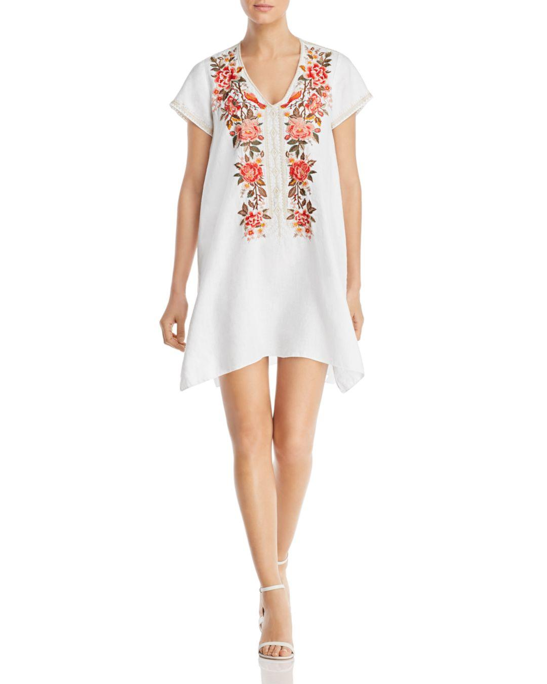 Johnny Was Linen Paola Embroidered Shift Dress In White