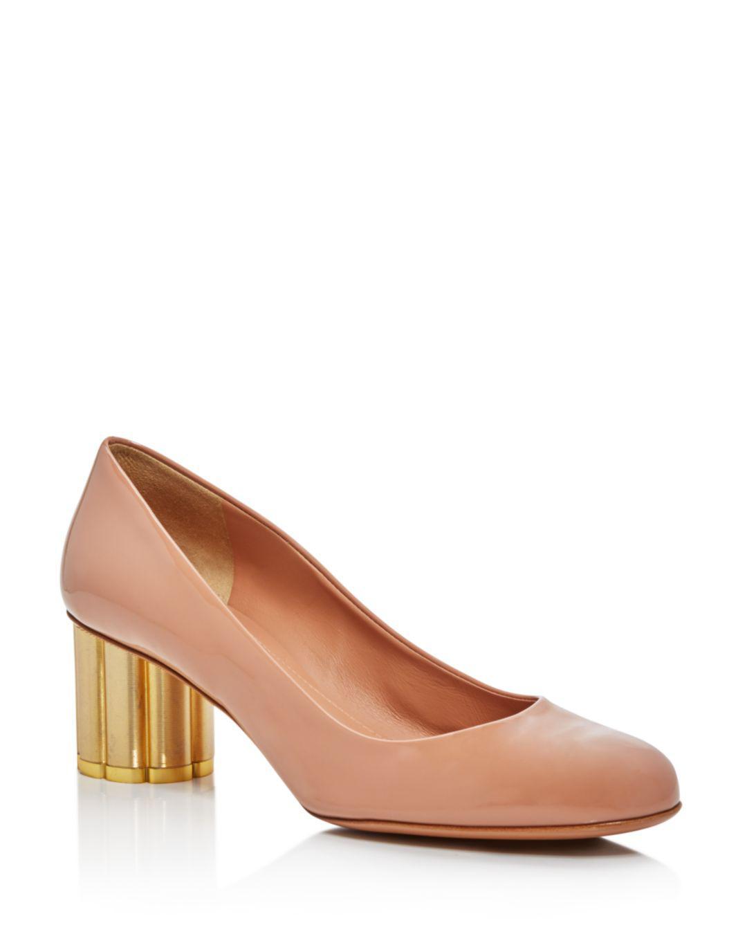 04b777fbb359 Lyst - Ferragamo Lucca Flower-heel Patent-leather Pumps - Save 59%