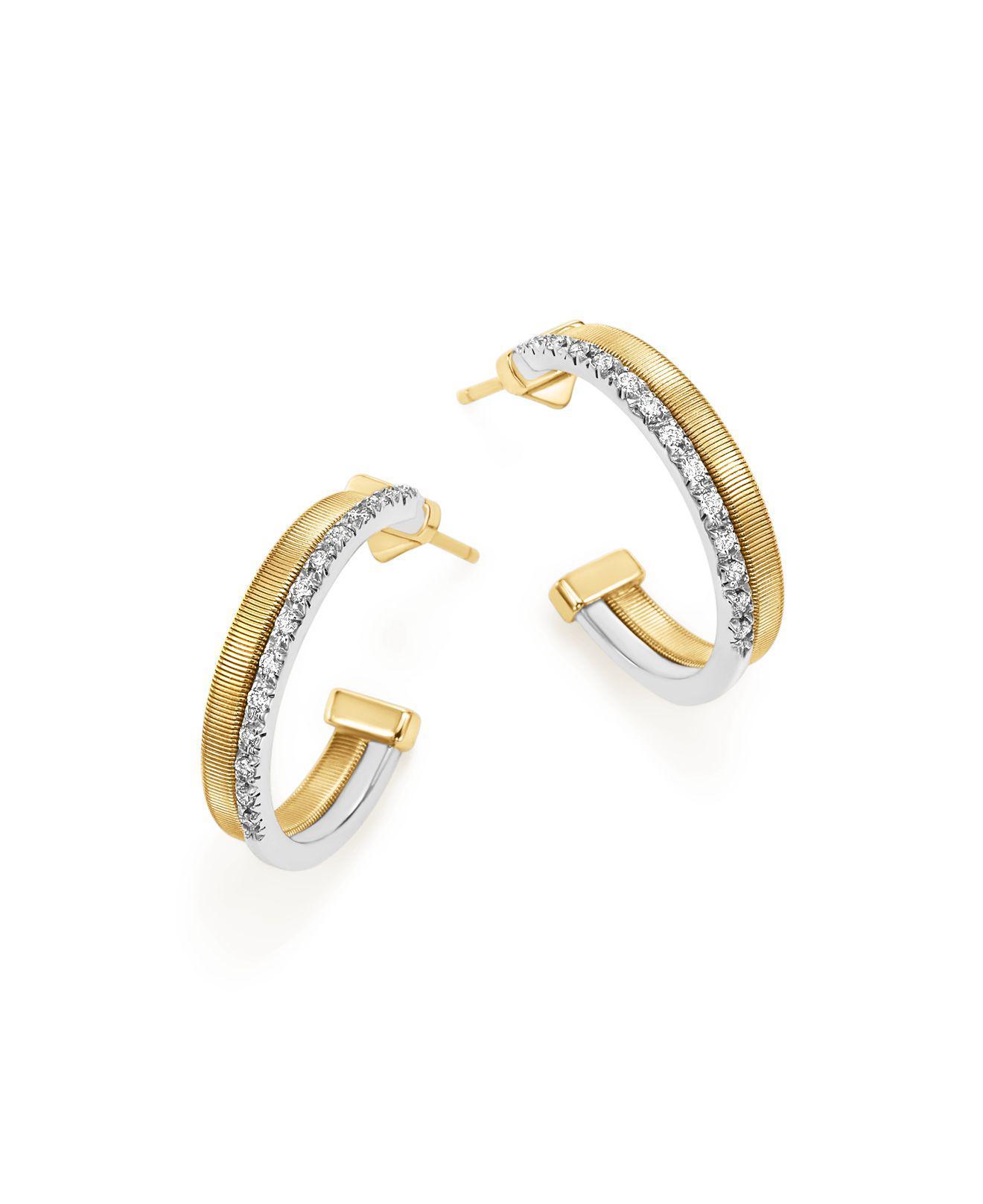 Marco Bicego Masai 18K White & Yellow Gold Hoop Earrings with Diamonds ps4xTj
