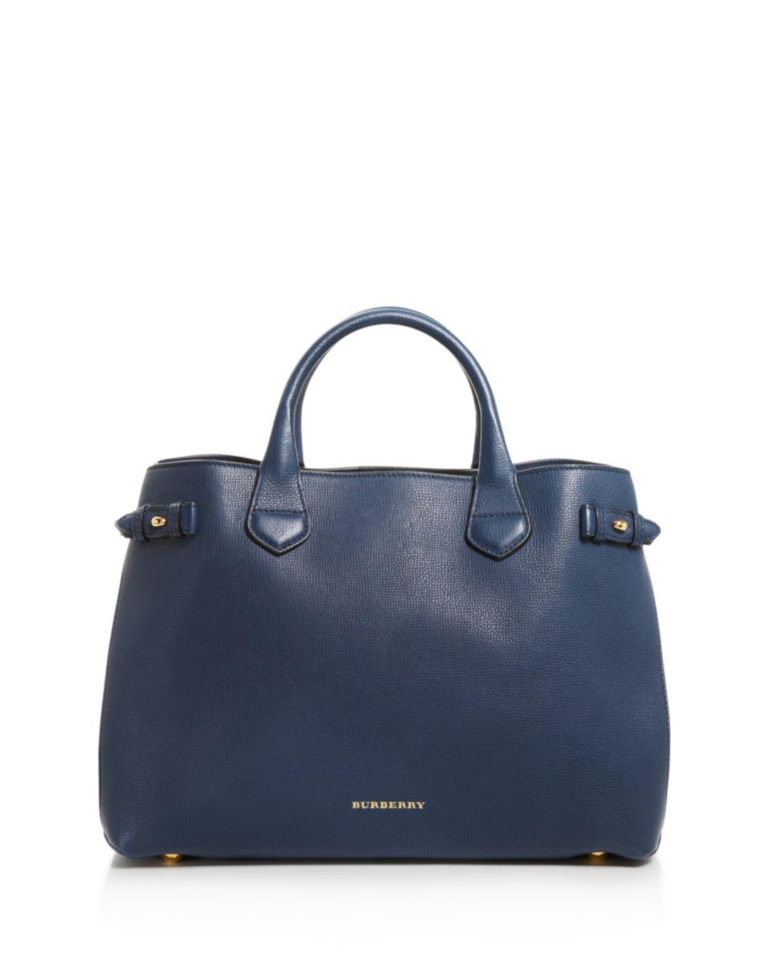 8ec007a4a1e5 Burberry - Blue Banner House Check Medium Leather Tote - Lyst. View  fullscreen