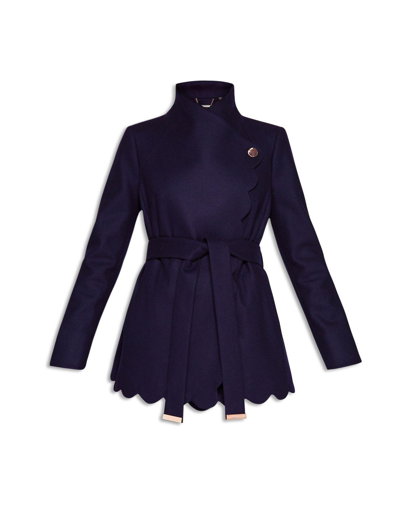 76cd607e5 Lyst - Ted Baker Aastar Scallop Edge Short Wrap Coat in Blue