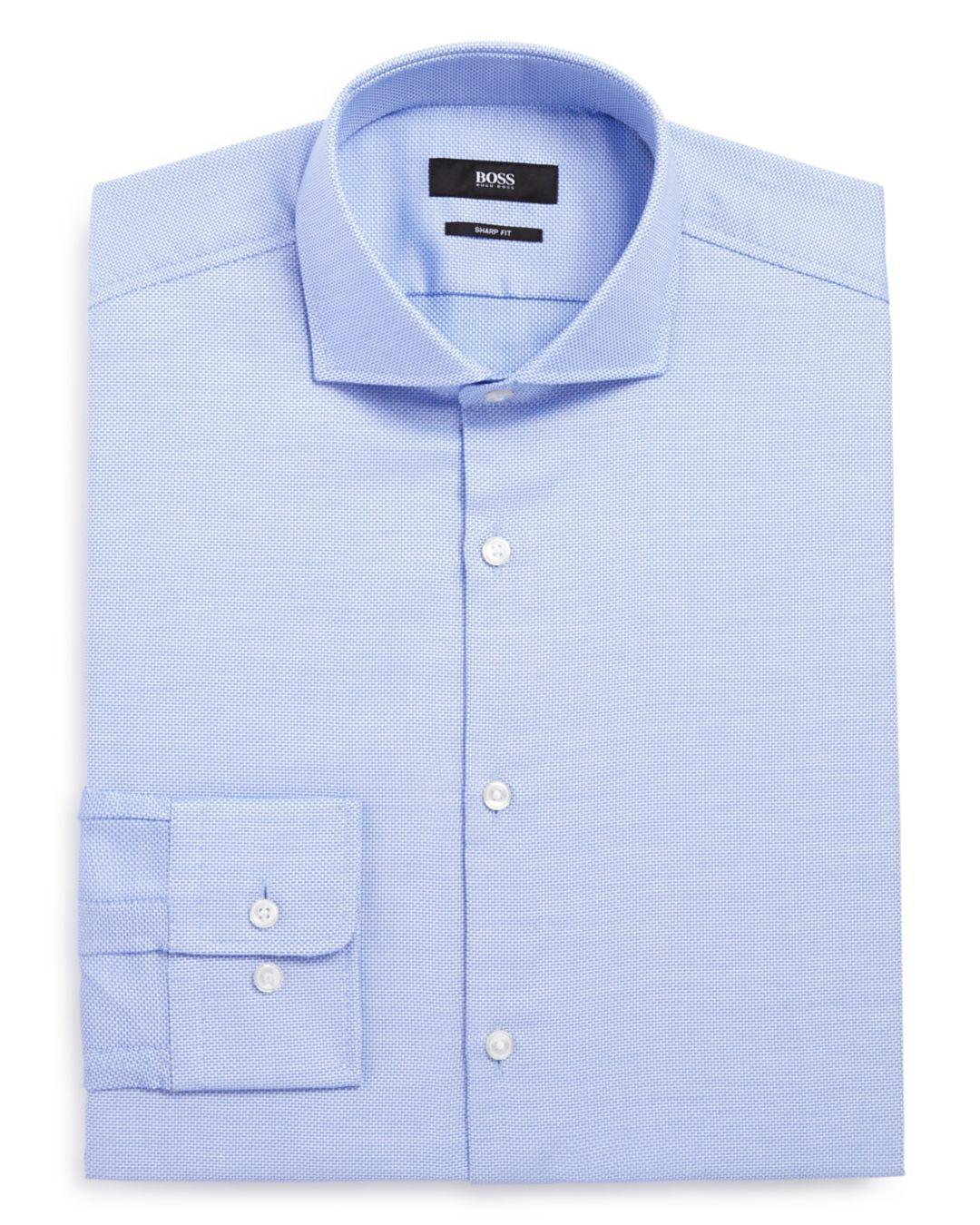 12a7cbe2 BOSS - Blue Men's Sharp-fit Cotton Oxford Dress Shirt for Men - Lyst. View  fullscreen