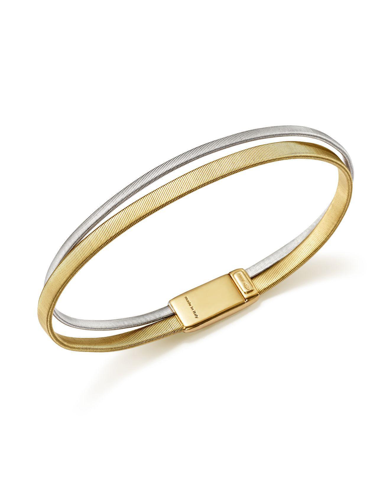 Marco Bicego Masai Two-Row 18K Yellow & White Gold Bracelet wOtCx