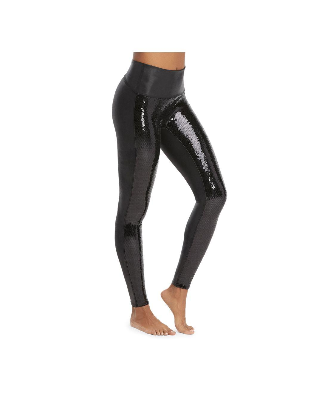 7ea83f8653f91 Spanx Sequined Faux - Leather Leggings in Black - Lyst
