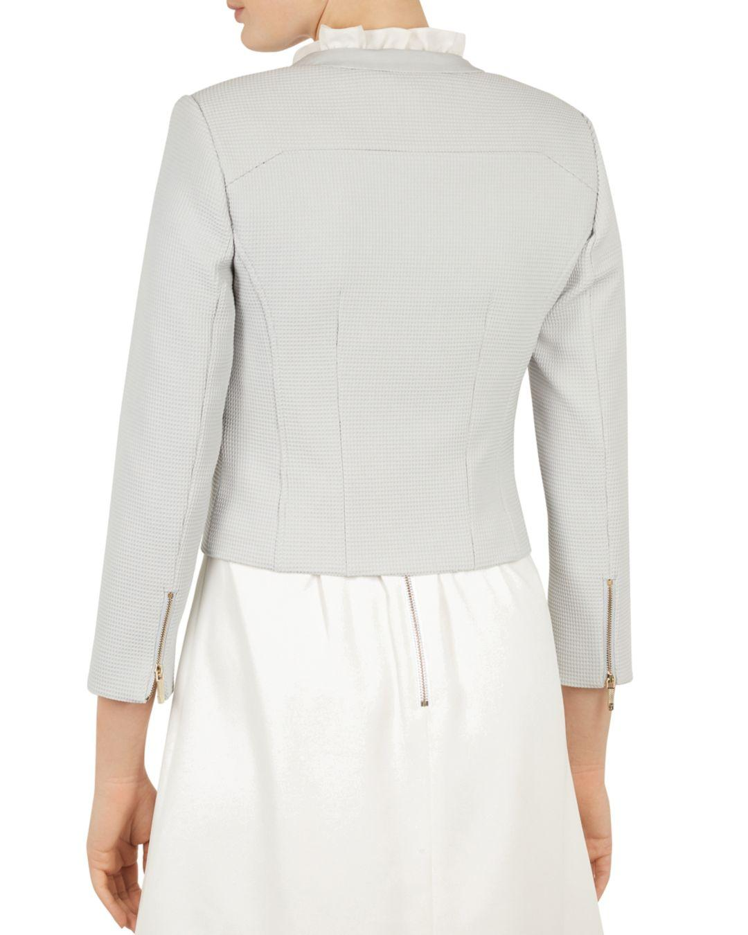 a8b3de64f43a Lyst - Ted Baker Reemad Cropped Textured Jacket in Gray