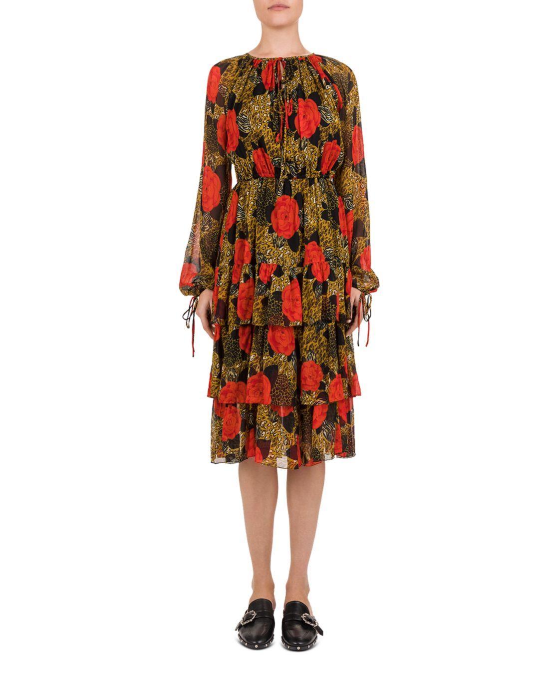 95fea65fc0 Lyst - The Kooples Jungle Flowers Printed Midi Dress in Red