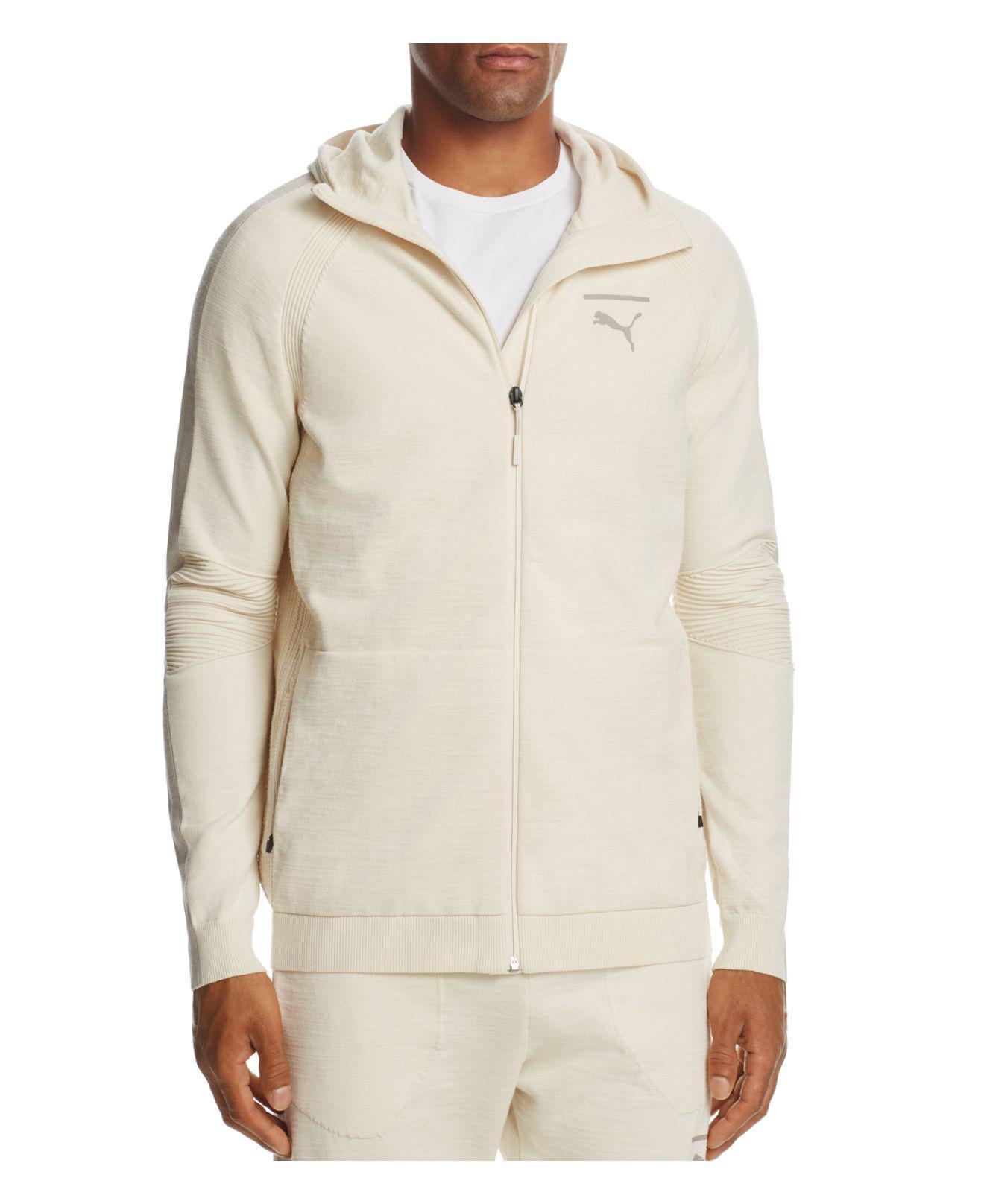 PUMA. Men's White Evoknit Move Zip Hooded Sweatshirt
