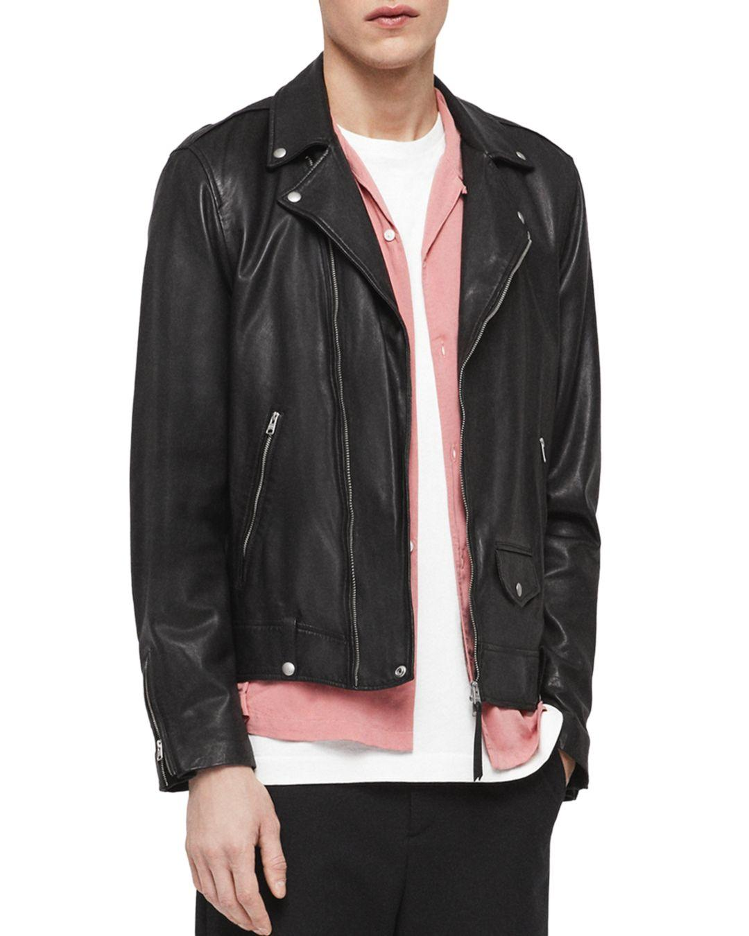 fb0df404cab AllSaints Ace Leather Biker Jacket in Black for Men - Lyst