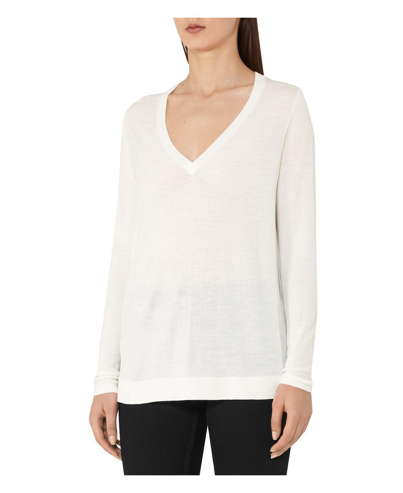 Reiss Sally Merino Wool & Silk V-neck Sweater in White