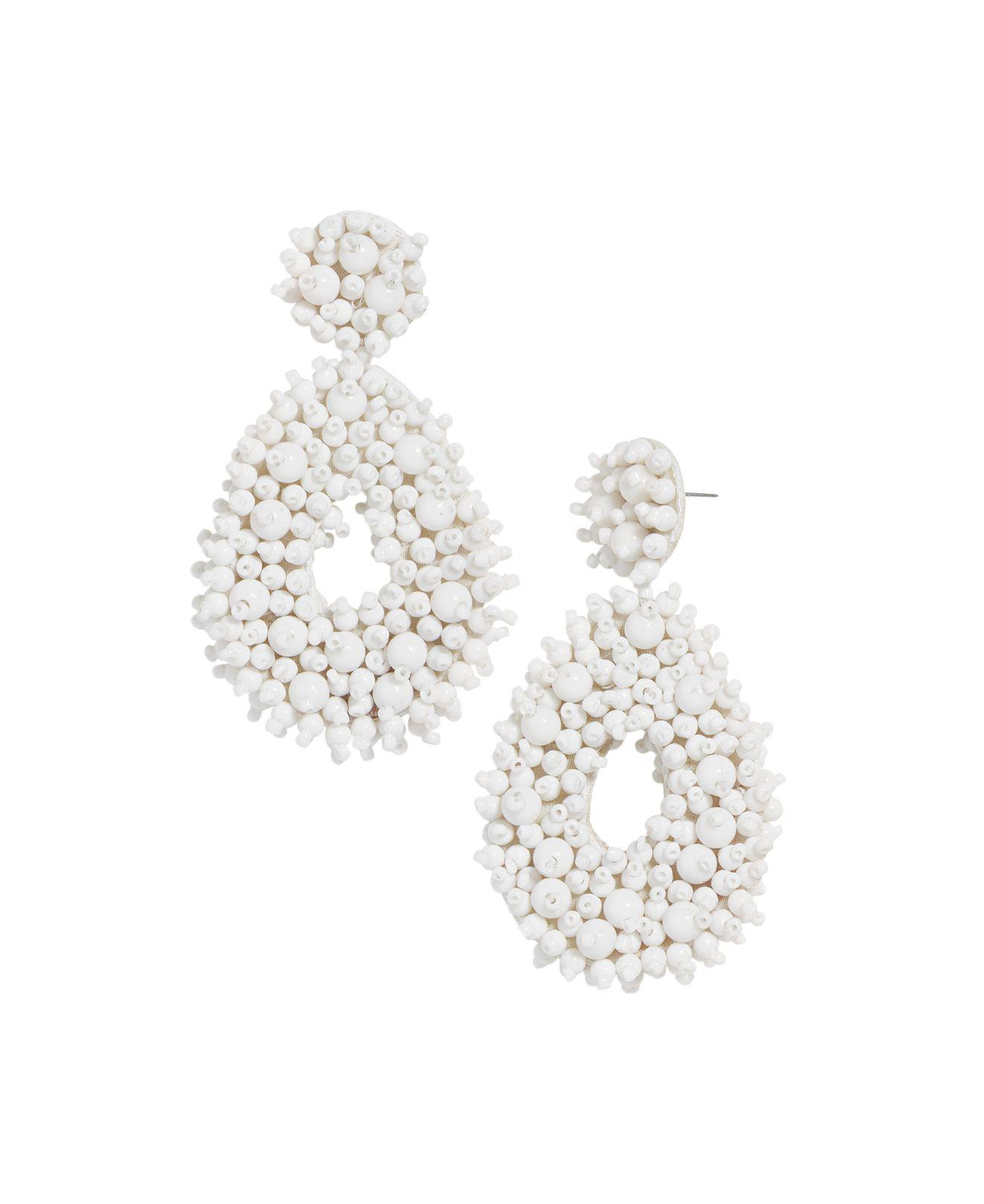 fashionable drop earrings silver at dangle gse with beads beaded shape white coated