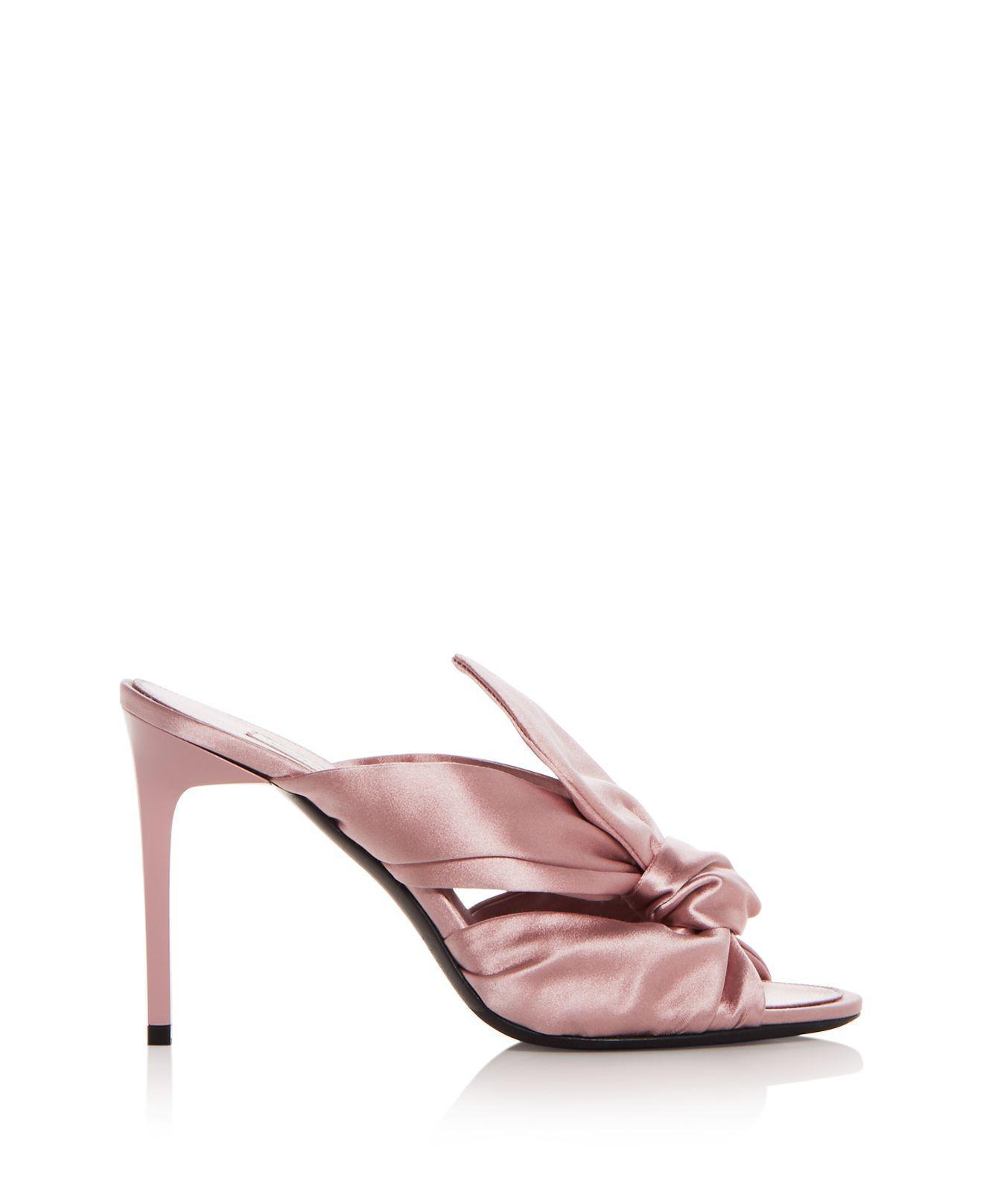 Oscar de la Renta Women's Paige Satin Knot High-Heel Slide Sandals 8ZxHZhv7h
