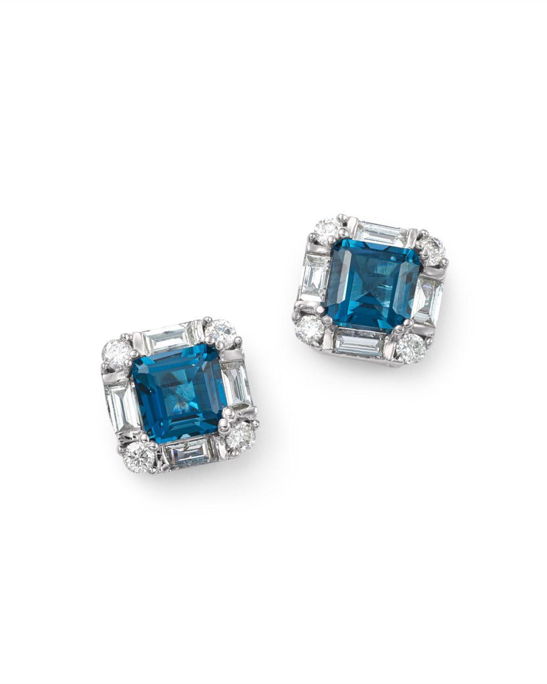 London Blue Topaz Diamond Square Stud Earrings In 14k White Gold