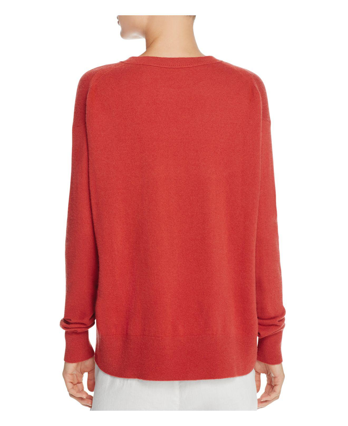 Vince Boxy Drop Shoulder Cashmere Sweater in Red | Lyst