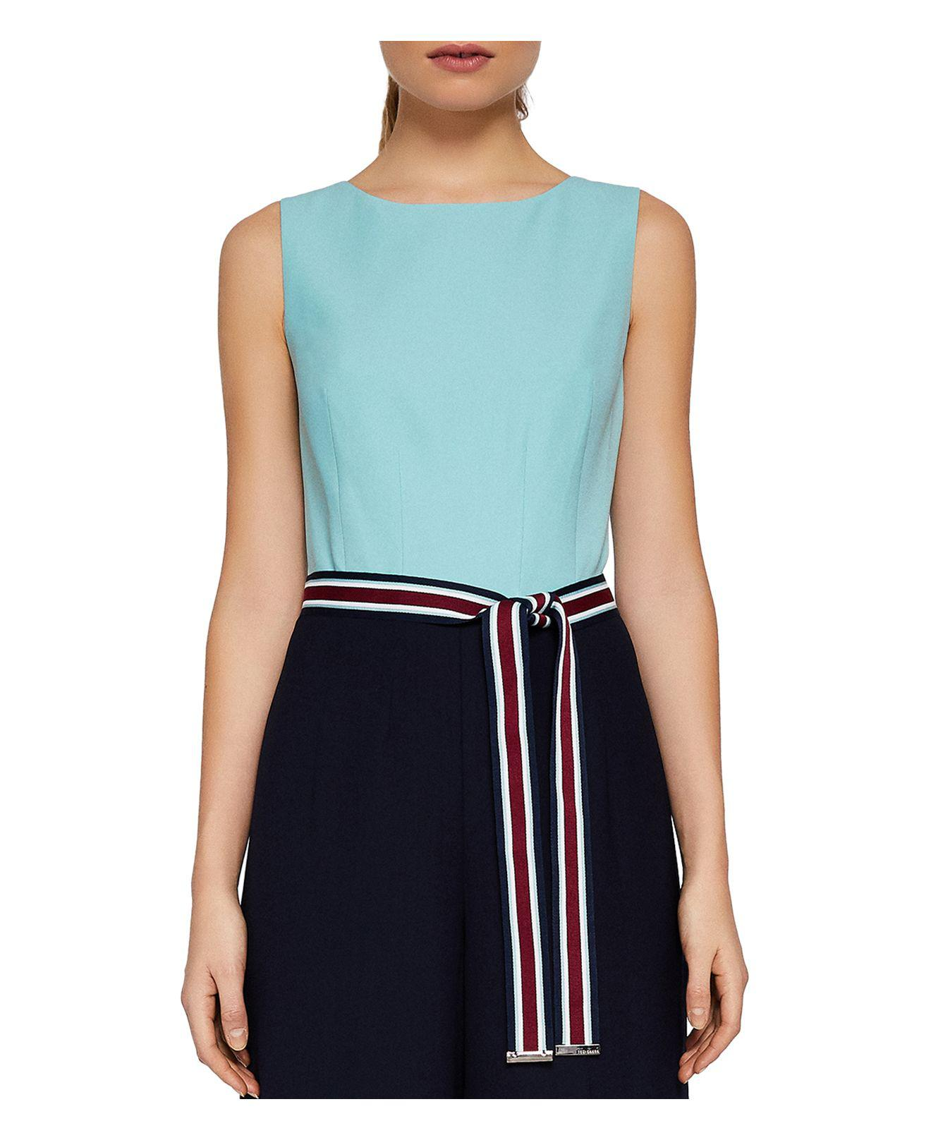 Lyst - Ted Baker Colour By Numbers Afu Color-block Jumpsuit in Blue