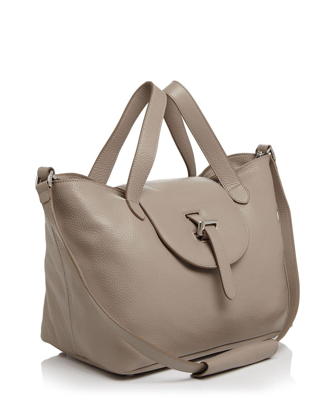 meli melo Leather Medium Thela Zipper Tote in Tan/Gold (Brown)