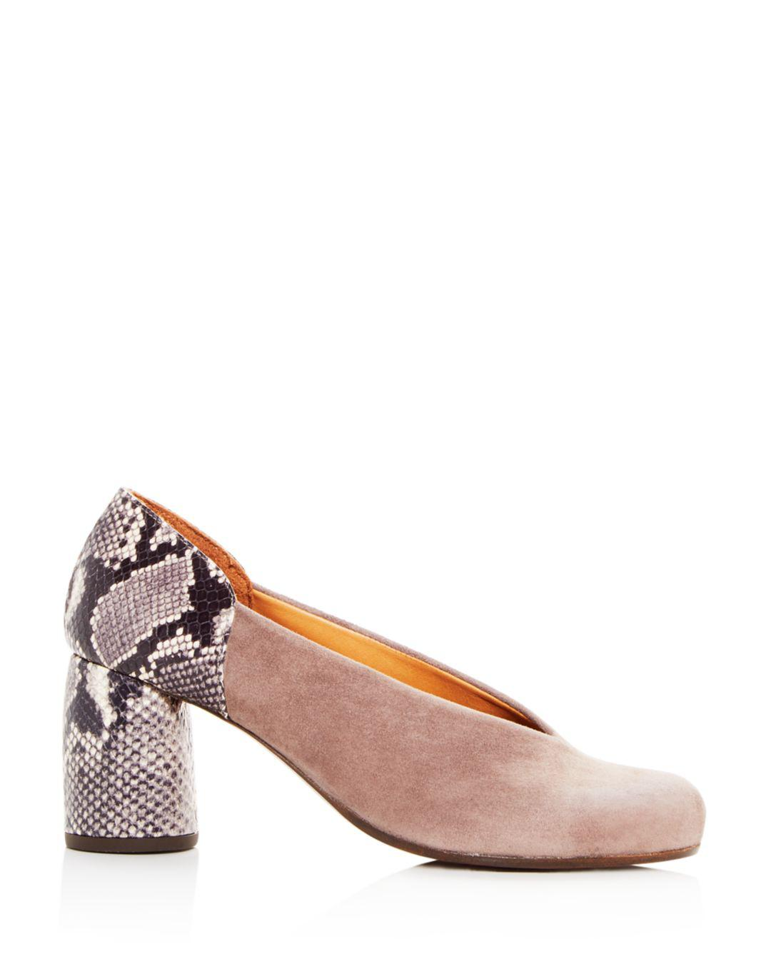 d281208b5e3 Chie Mihara Women s Ante Amazon Suede   Embossed Leather Block-heel Pumps -  Lyst