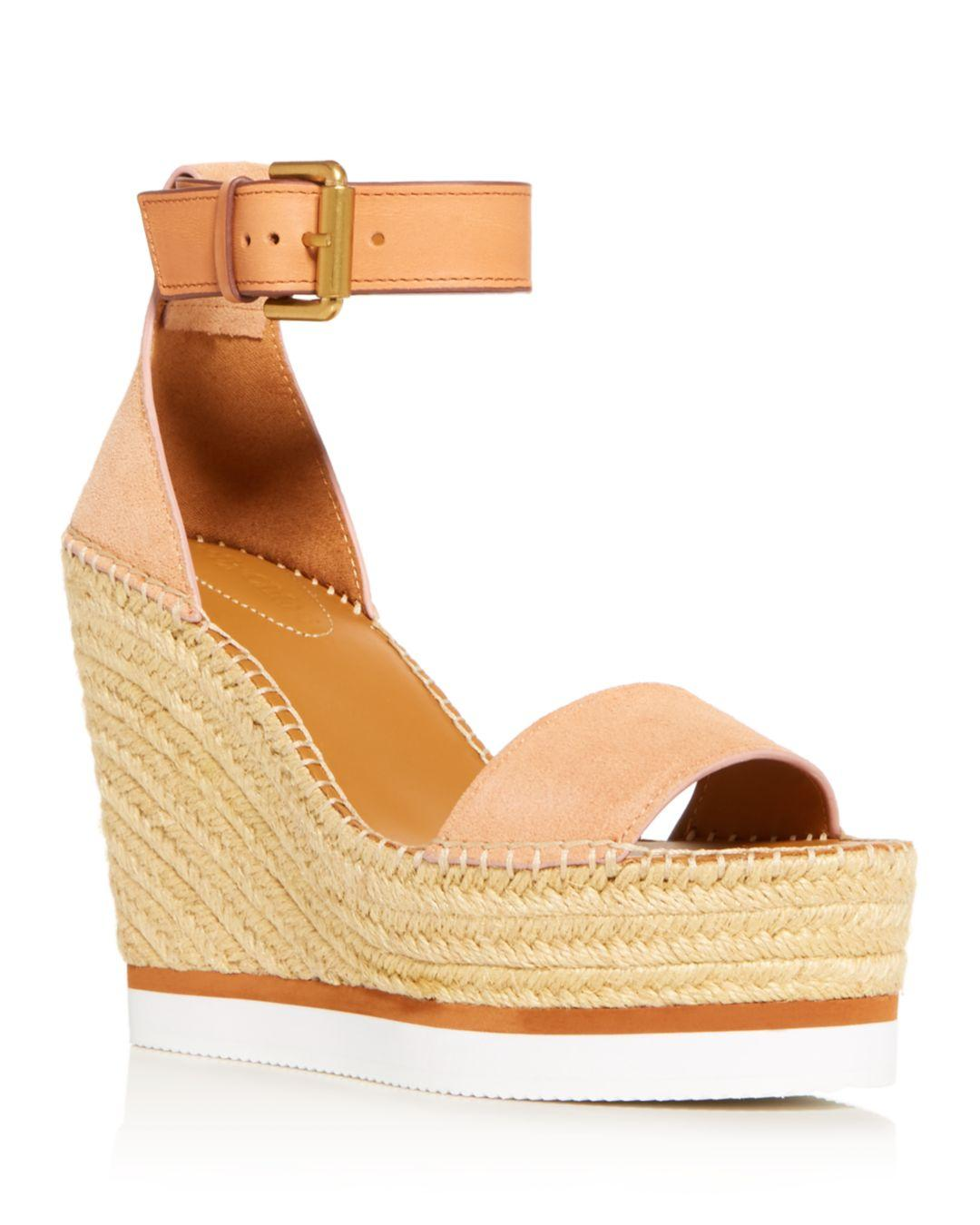 896af35f9214 See By Chloé - Multicolor Glyn Leather Espadrille Platform Wedge Ankle  Strap Sandals - Lyst. View fullscreen