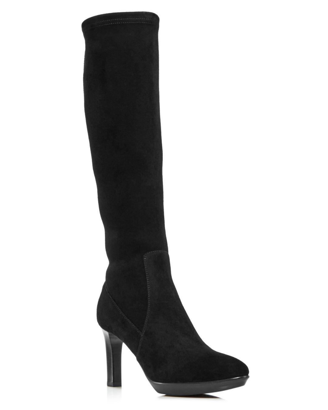 2208b7d26c7 Lyst - Aquatalia Women s Rhumba Tall Suede High-heel Boots in Black