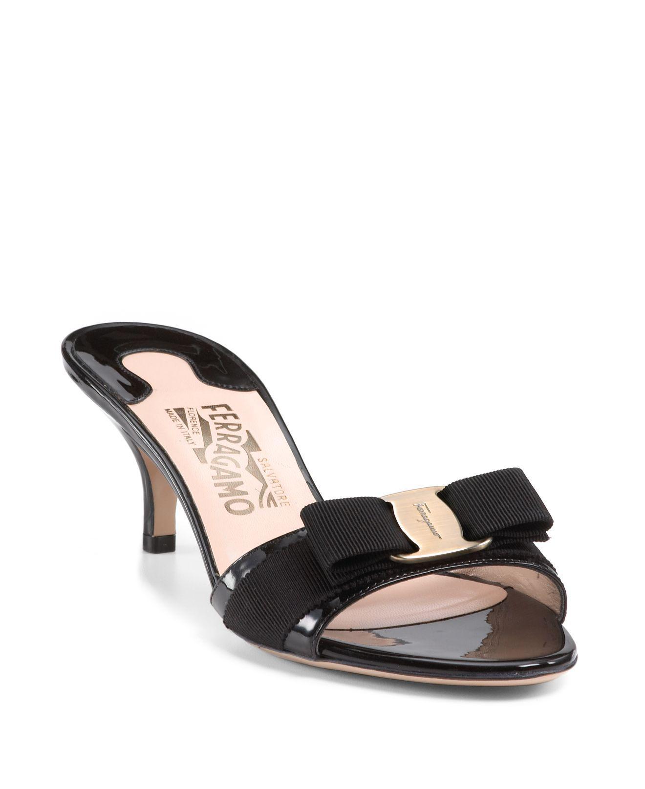 Open Toe Slide Kitten Heel Sandals