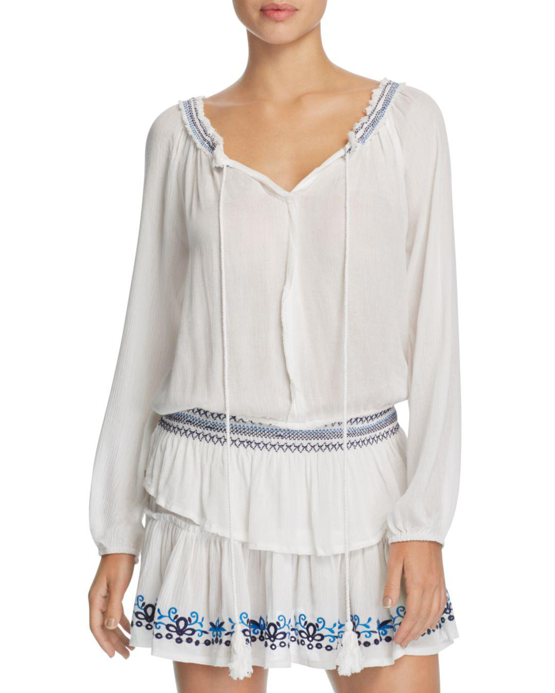 3edc3c120f9ba Lyst - Surf Gypsy Embroidered Peasant Dress Swim Cover-up in White