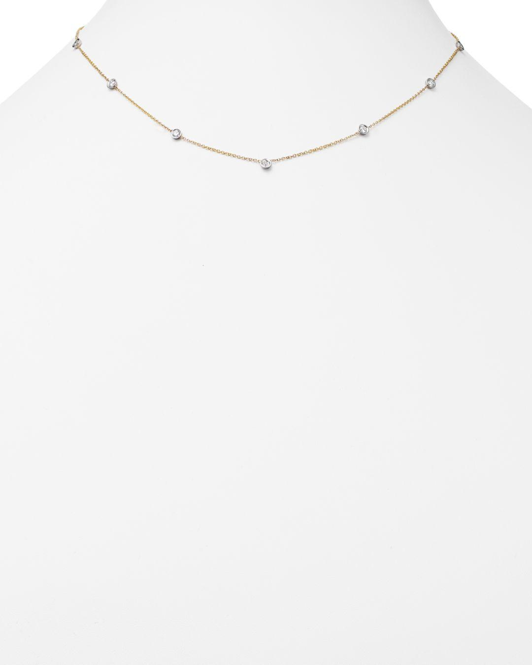 Bloomingdale's Diamond Station Necklace In 14k Yellow And White Gold in White/Gold (Metallic)