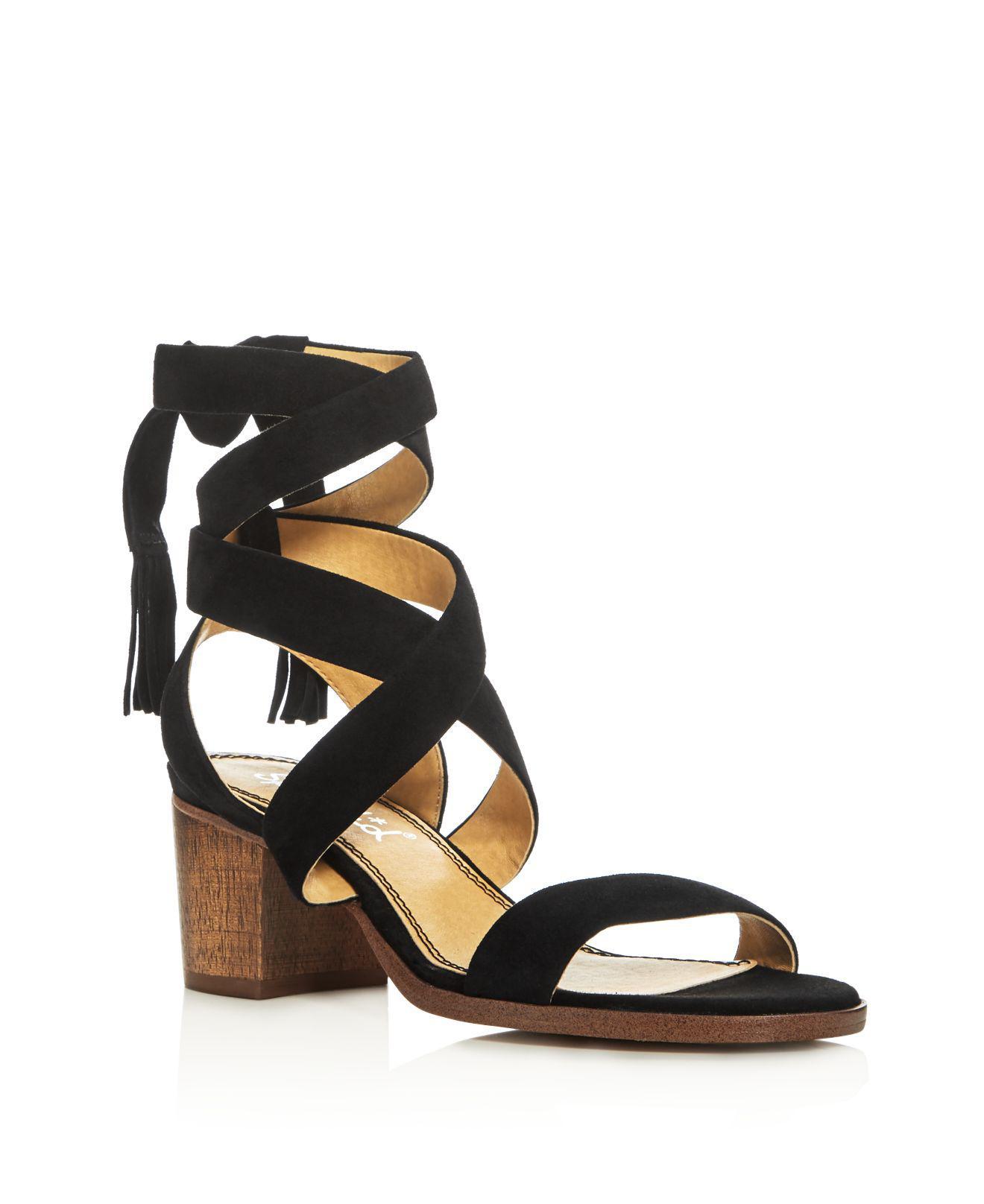 89c4256afe36 Lyst - Splendid Janet Crisscross Ankle Strap Block Heel Sandals in Black