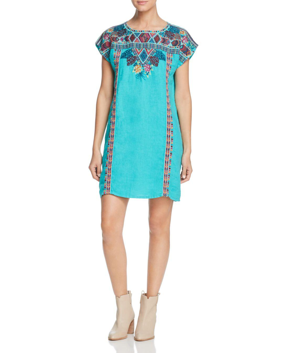 64986958c8c Lyst - Johnny Was Quinn Embroidered Linen Shift Dress in Blue