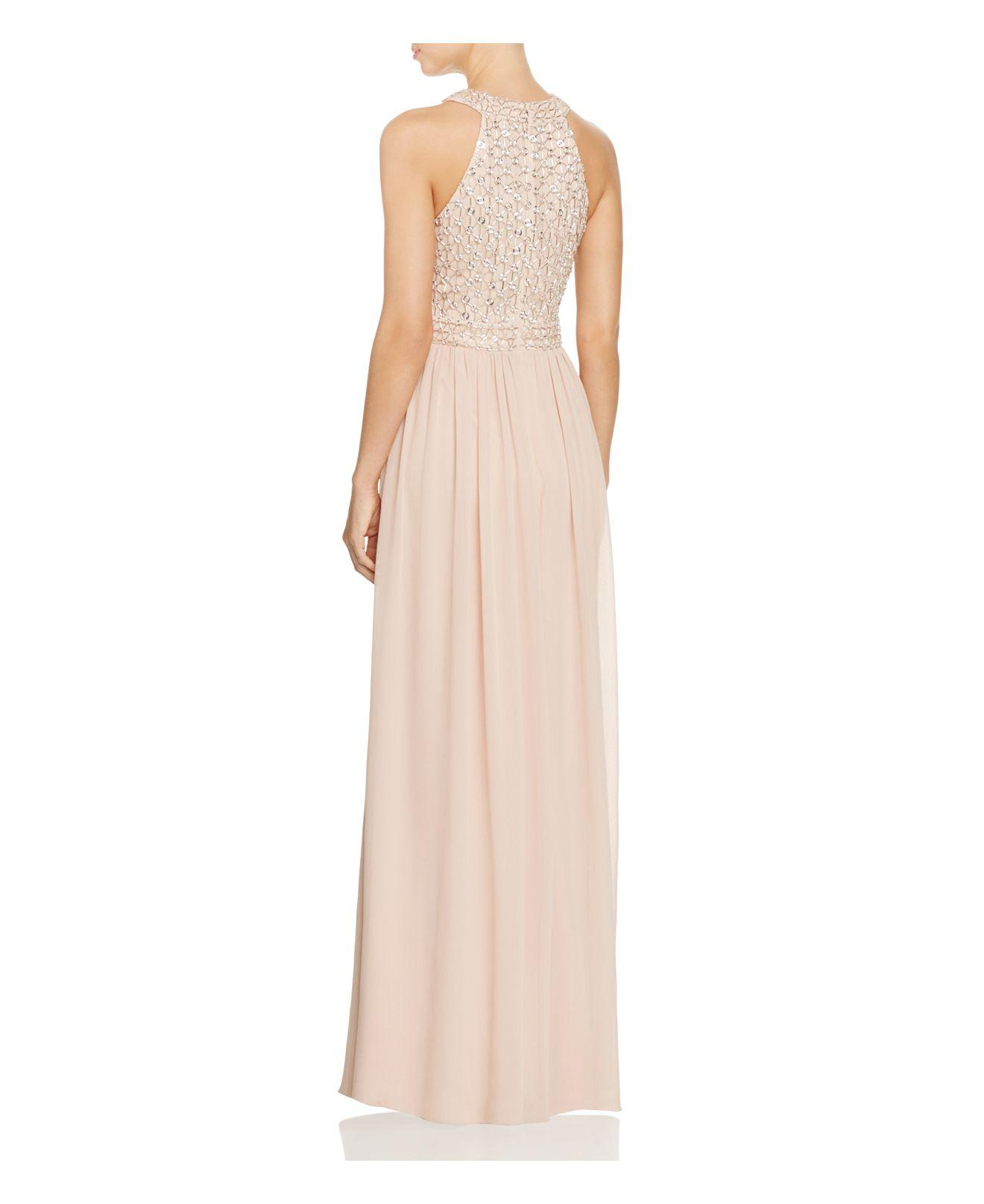 Lyst - Js Collections Beaded Illusion Gown in Pink