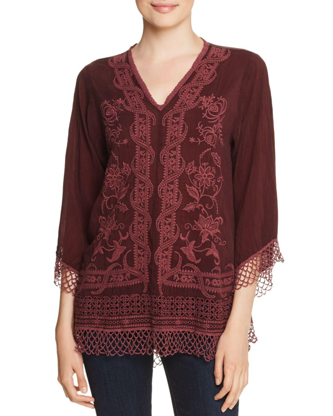 Ass Ic assic embroidered 3/4 sleeve top