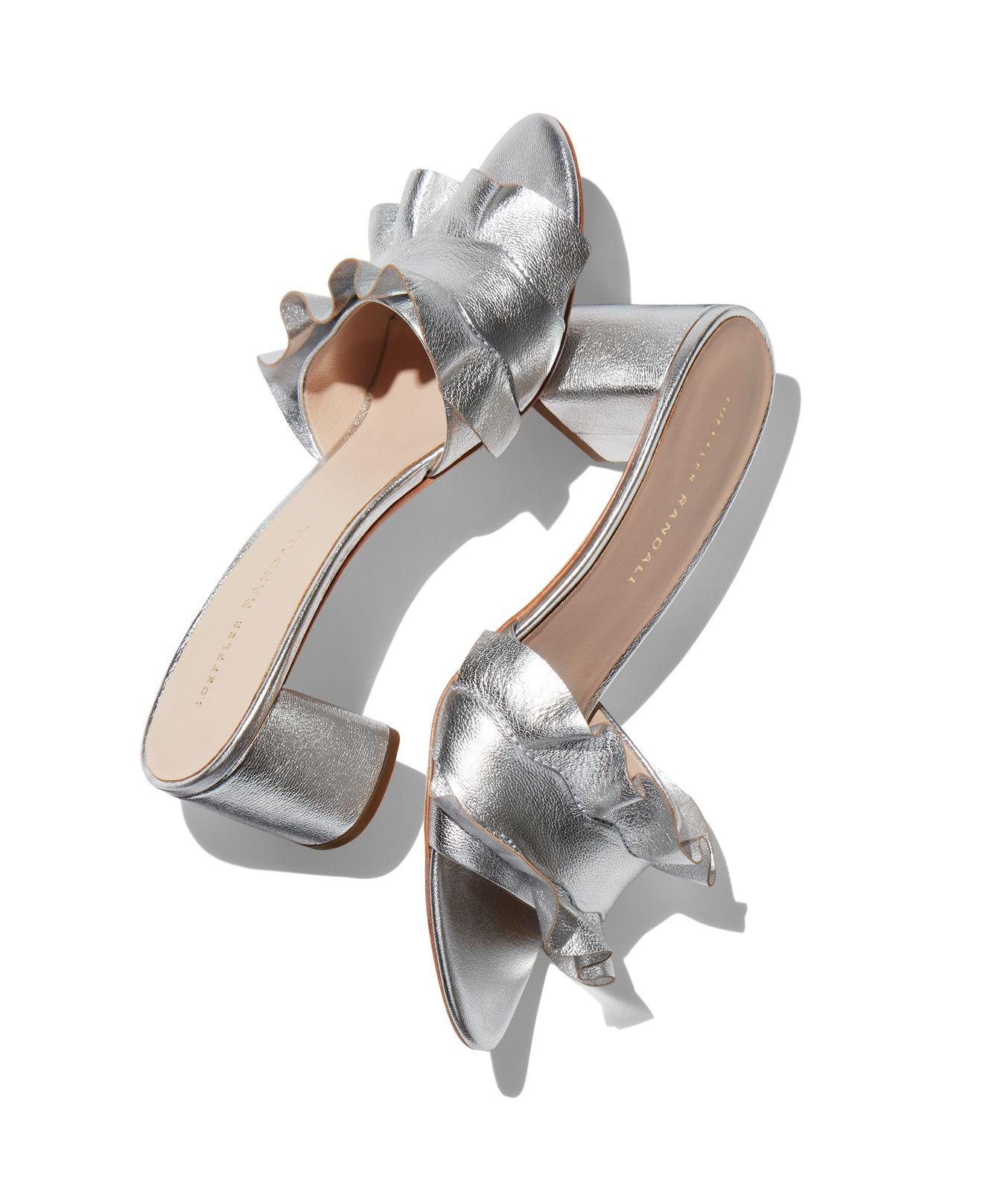 b4575a546b2 Lyst - Loeffler Randall Vera Metallic Leather Block Heel Slide ...