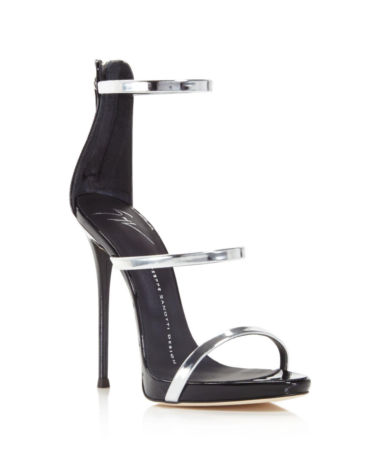 ccc94a385856e Giuseppe Zanotti Harmony Metallic Triple Strap High Heel Sandals in ...