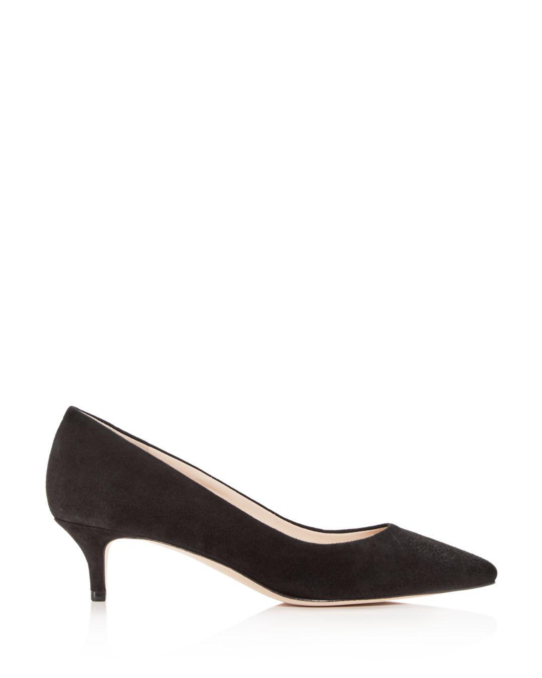 61237771ab58 Lyst - Cole Haan Women s Vesta Suede Kitten-heel Pumps in Black