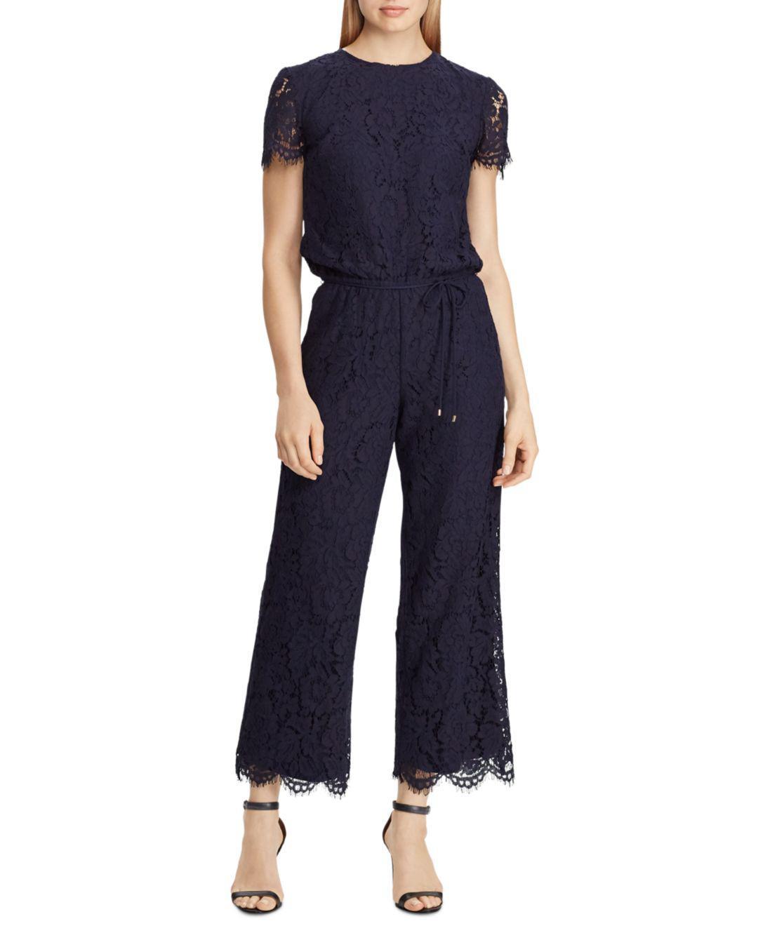 super popular b3e81 52d6c Ralph Lauren Lauren Lace Jumpsuit in Navy (Blue) - Lyst